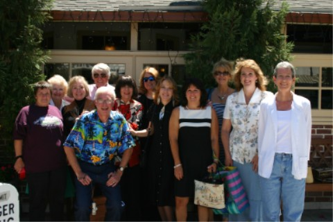 The Golden Gang (minus Marcella and Virginia who had to leave early): (l to r)Bev, Betty, Jacque, Robert, Doug (in front), Marilynn, Randy, Alicia, Patty, Alinda, Laura, and Cindy