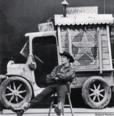 Starbuck in front of his 'Rain Wagon'